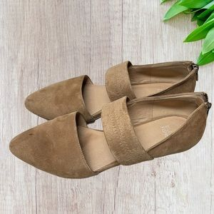 Eileen Fisher Hall Tan Suede D'Orsay Back Zip Flat